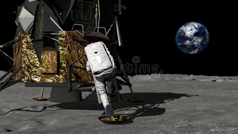 3D rendering. Astronaut descends the stairs of the Apollo spacecraft. CG Animation. Elements of this image furnished by NASA vector illustration