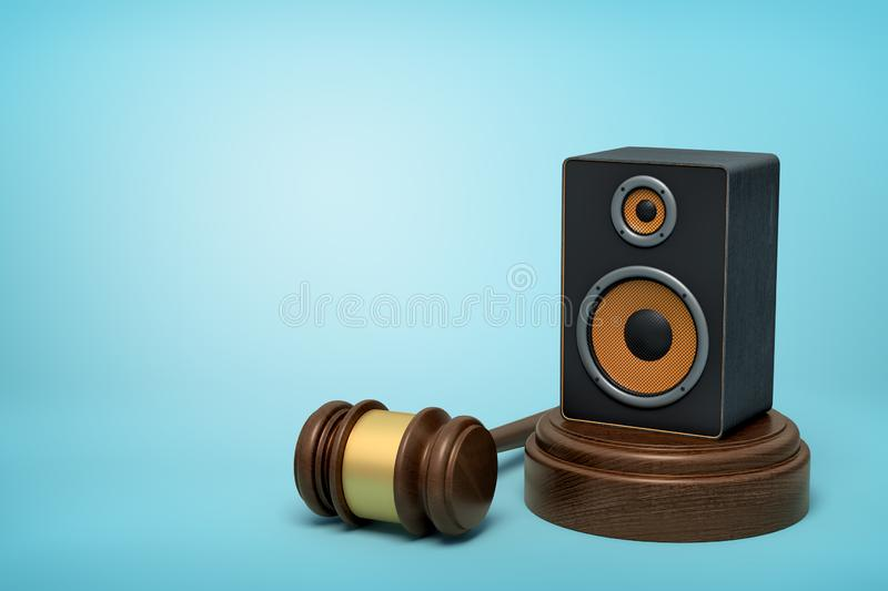 3d rendering of audio loudspeaker on round wooden block and brown wooden gavel on blue background vector illustration