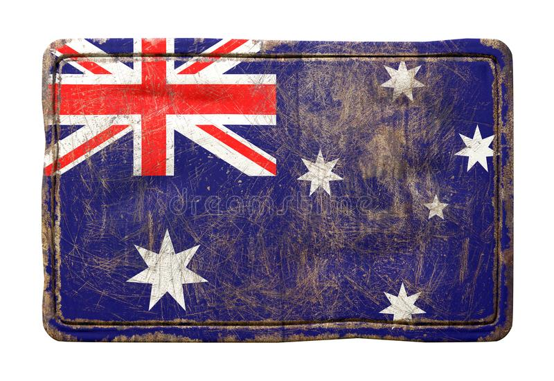 Old Australia flag. 3d rendering of an Australia flag over a rusty metallic plate. Isolated on white background vector illustration