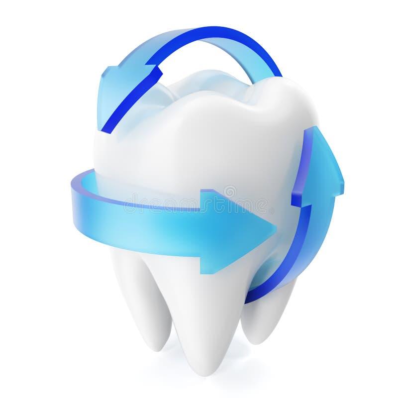 3D rendering błyska białych zęby odizolowywających na białym tle Stomatologicznej opieki zębu pojęcie ilustracja wektor