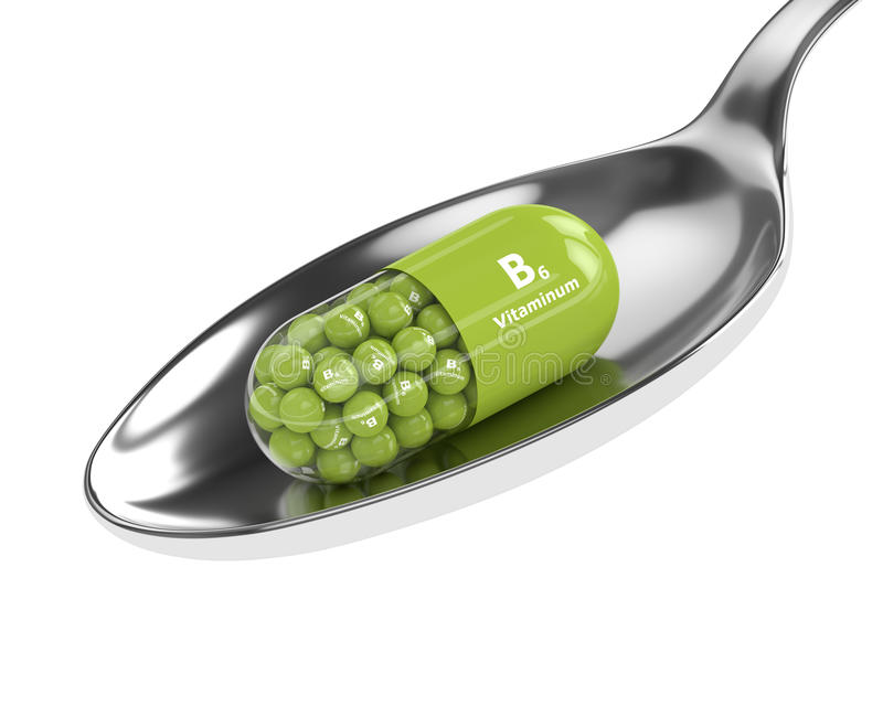 3d rendering B6 witaminy pigułka na łyżce ilustracja wektor