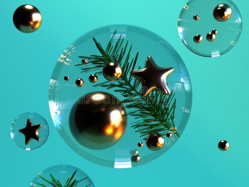 3d rendering background clear sphere gold ball and star green leaf abstract christmas holiday new year concept stock illustration