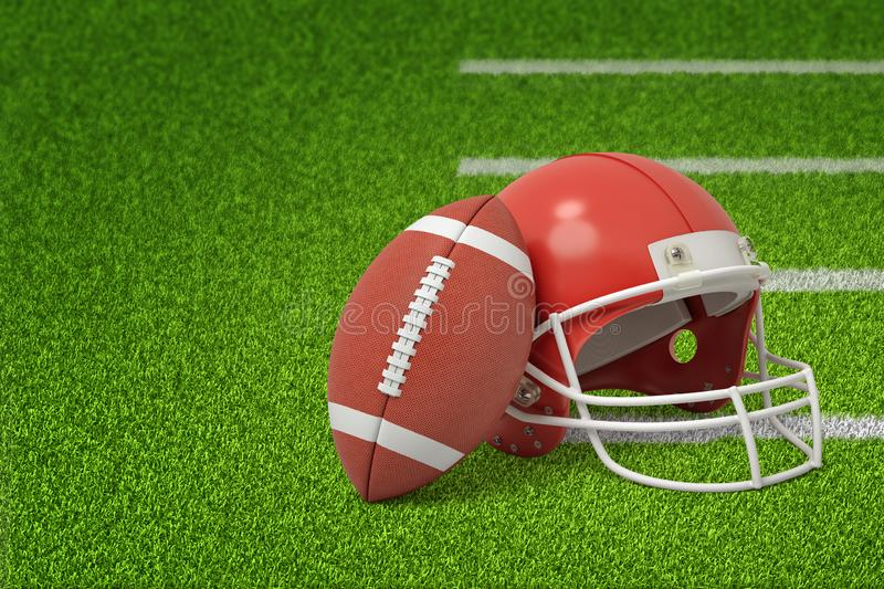 3d rendering of a ball and a helmet for the game of American football on the green grass of a football pitch. stock images