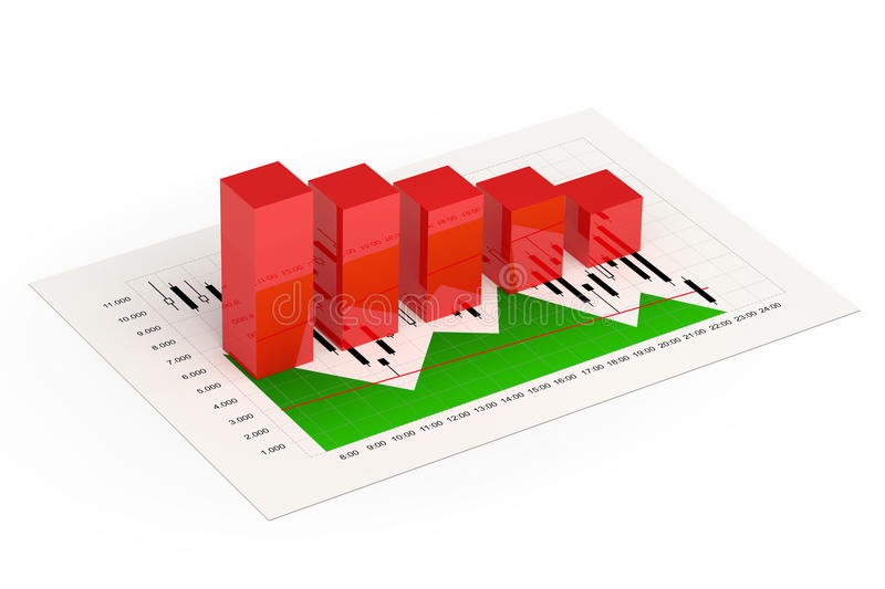 3d rendering of bar graph with index report over white. Background vector illustration