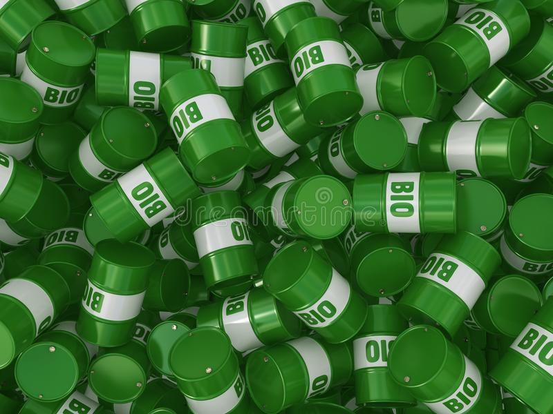 3D rendering barrel of biofuels. 3D rendering green barrels for biofuels with lettering royalty free illustration