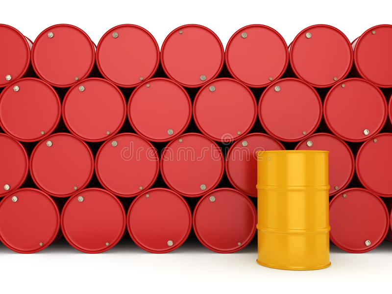 3D rendering barrels. 3D rendering red and yellow barrels not contain any inscriptions vector illustration