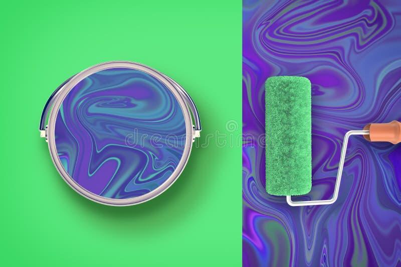 3d rendering barwiący tło z kontrast farby wiadrem pełno fiołkowy ciecz i farba rolownik zdjęcie royalty free