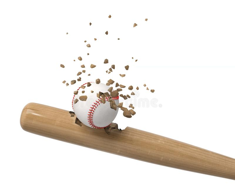 3d rendering of baseball bat and ball shattering into small pieces isolated on white background stock image