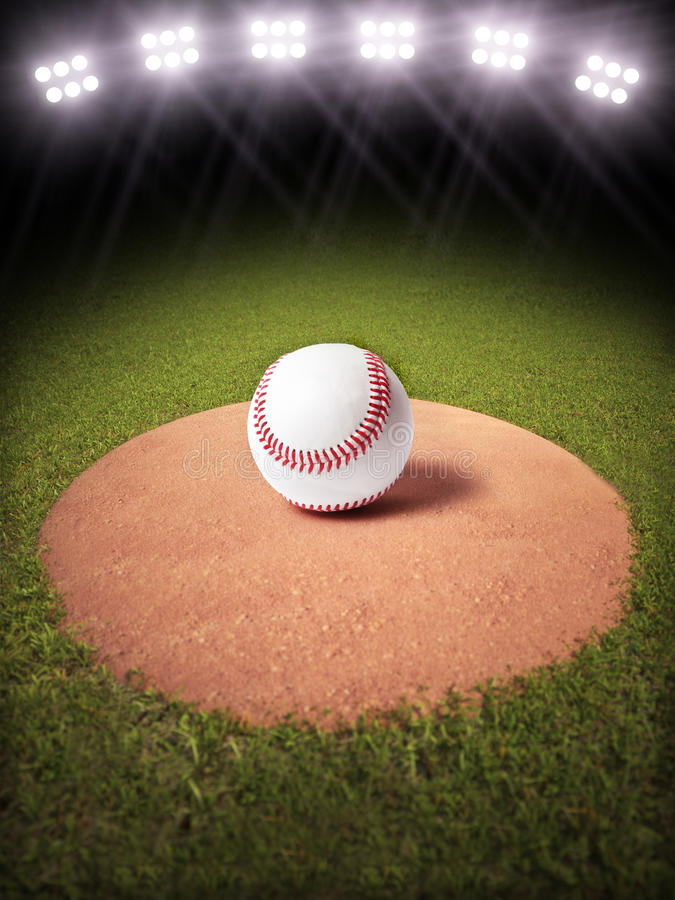 3d rendering of a Baseball on a pitchers mound of Lighted Baseball field royalty free illustration