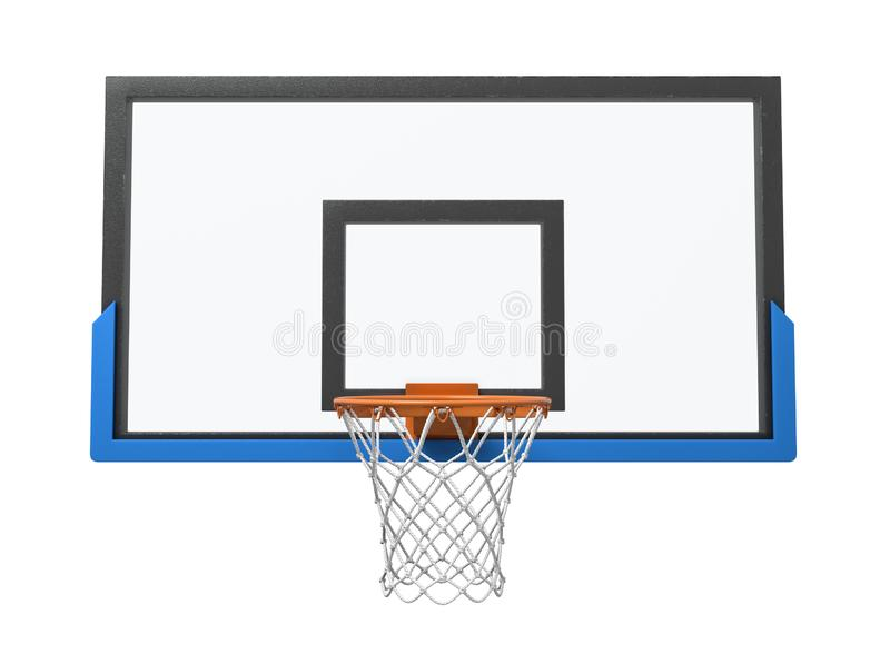 3d rendering of a basketball hoop with an empty basket and transparent backboard. Basketball equipment. Street sport. Exercise and games royalty free stock photography