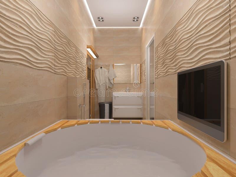 3D rendering of the bathroom in beige tones. Rendering of the bathroom in beige tones stock illustration