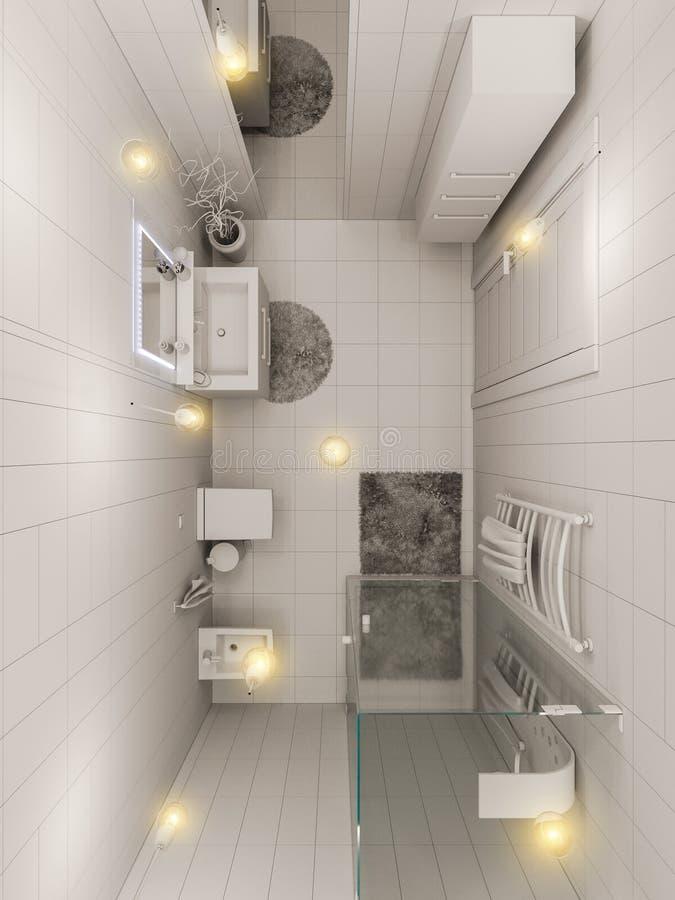 Download 3D Rendering Of A Bathroom Interior Design For Children Stock Illustration