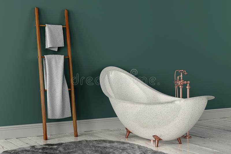 3D rendering of bathroom with wooden towels. And deep-piled carpet on the wooden floor in front of painted wall royalty free stock images