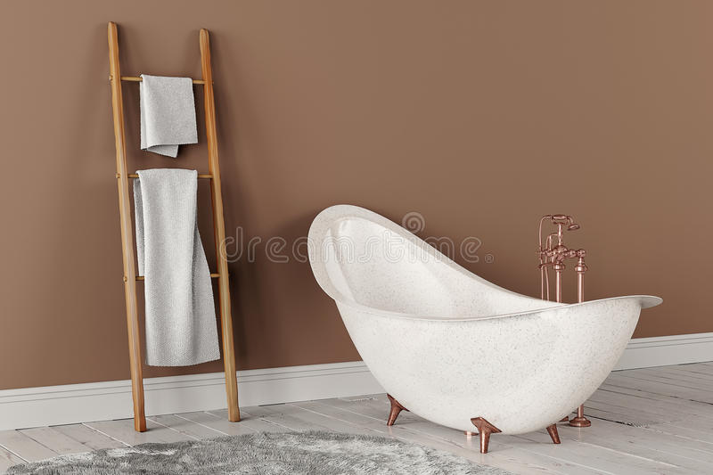 3D rendering of bathroom. With wooden towels and deep-piled carpet on the wooden floor in front of painted wall stock photos