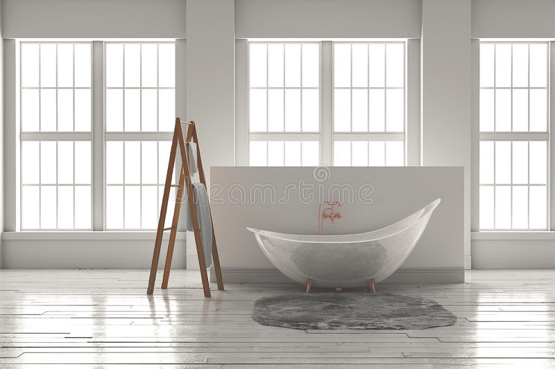 3D-rendering of a bathtub on a wooden floor in front of large wi. 3D rendering of bathtub with wooden towel and deep-piled carpet on a wooden floor in front of stock photo