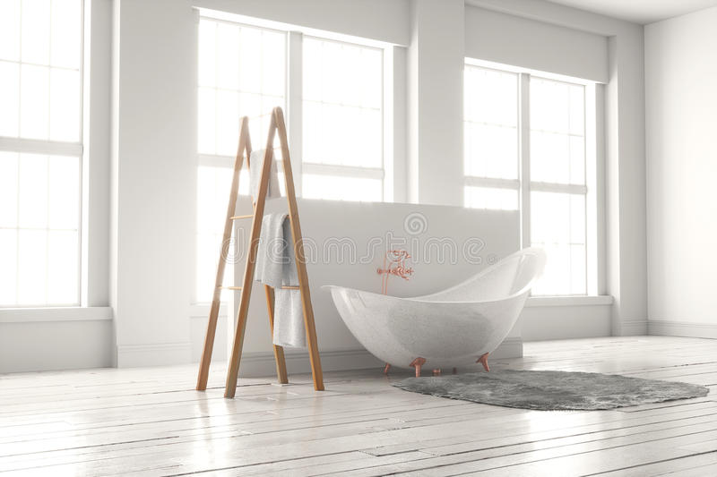 3D-rendering of a bathtub on a wooden floor in front of large wi. 3D rendering of bathtub with wooden towel and deep-piled carpet on a wooden floor in front of royalty free stock images