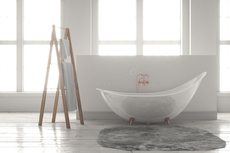 3D-rendering of a bathtub on a wooden floor in front of large wi. 3D rendering of bathtub with wooden towel and deep-piled carpet on a wooden floor in front of stock photos