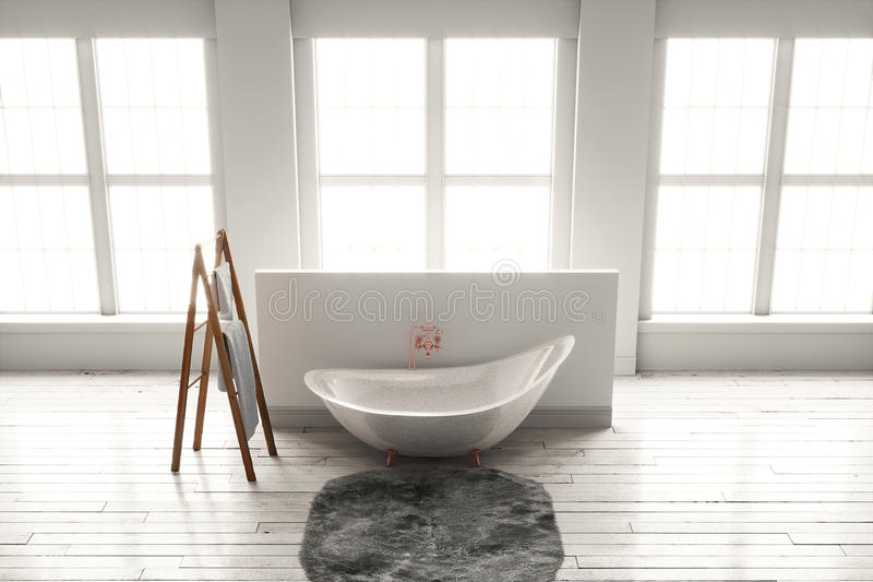 3D-rendering of a bathtub on a wooden floor in front of large wi. 3D rendering of bathtub with wooden towel and deep-piled carpet on a wooden floor in front of stock image