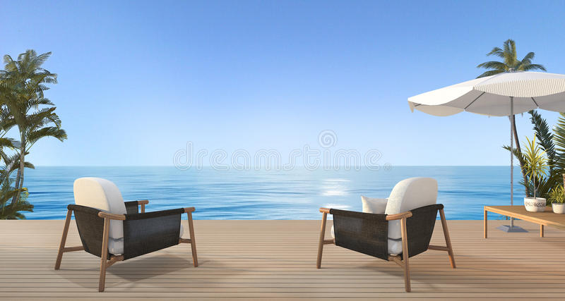 3d rendering beautiful armchair on terrace near beach with nice sky view and palm tree in hawaii vector illustration