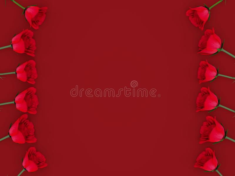 3d rendering of beautiful red roses aligned at the sides with copy text space over a red background. 3d rendering of red roses aligned at the sides with copy vector illustration