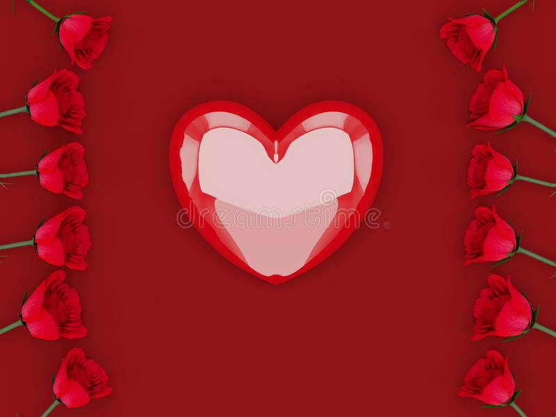 3d rendering of beautiful red roses aligned at the sides with copy text space over a red background. 3d rendering of red roses aligned at the sides with copy stock illustration