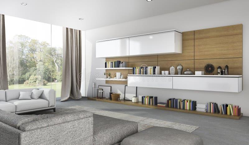 Download 3d Rendering Beautiful Soft Sofa In Living Room Near Garden Stock Illustration - Image: 83708157