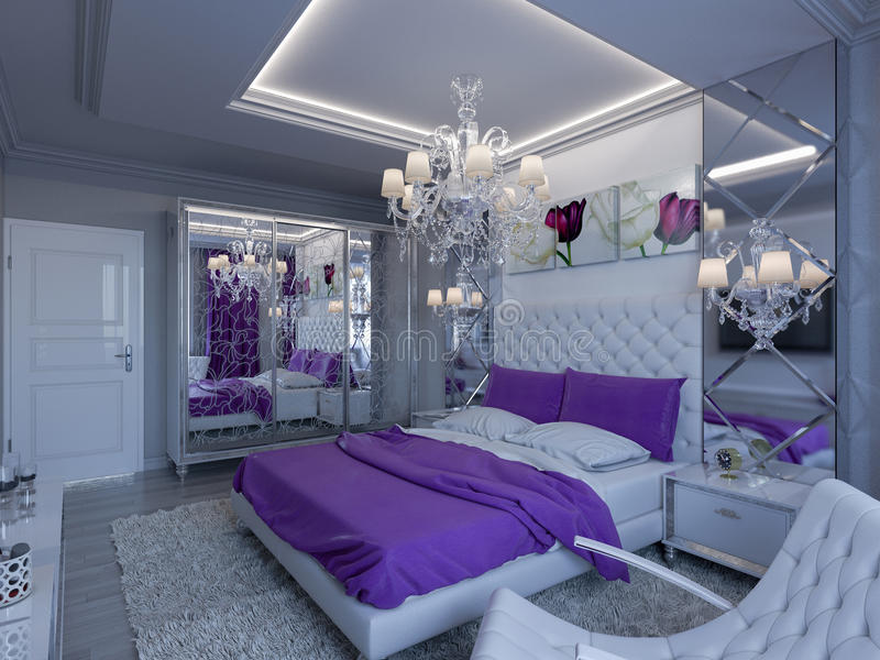 3d rendering bedroom in gray and white tones with purple accents. 3d render bedroom in gray and white tones with purple accents royalty free illustration