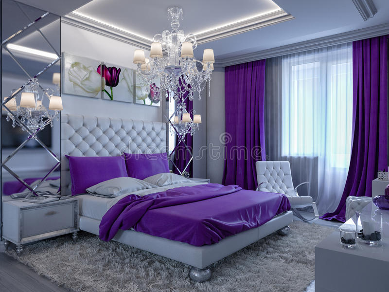 Download 3d Rendering Bedroom In Gray And White Tones With Purple Accents  Stock Illustration   Illustration