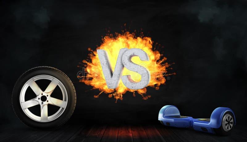 3d rendering betonu płomienni listy VS stojak między samochodowym kołem i błękitnym równoważeniem wsiada obraz stock