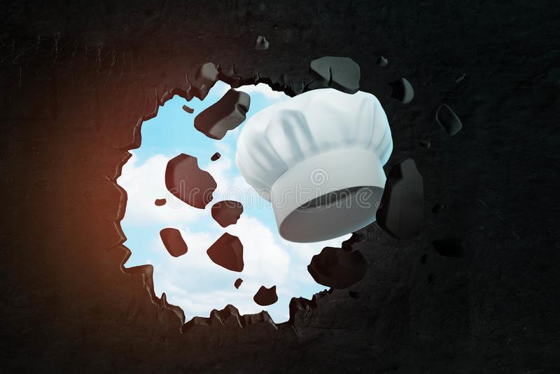 3d rendering biała toque łamania dziura w czerni ścianie z niebieskim niebem widzieć przez dziury ilustracja wektor