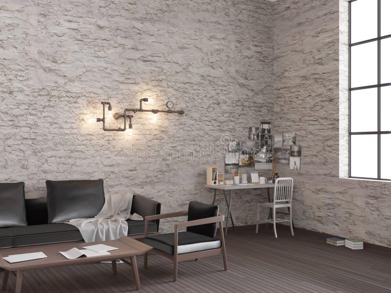 3d rendering Białego ceglanego loft żywy pokój z pracującym miejscem royalty ilustracja