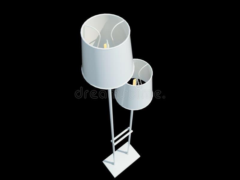 3d rendering białej lampy breloczek odizolowywający na czarnym backgro ilustracji
