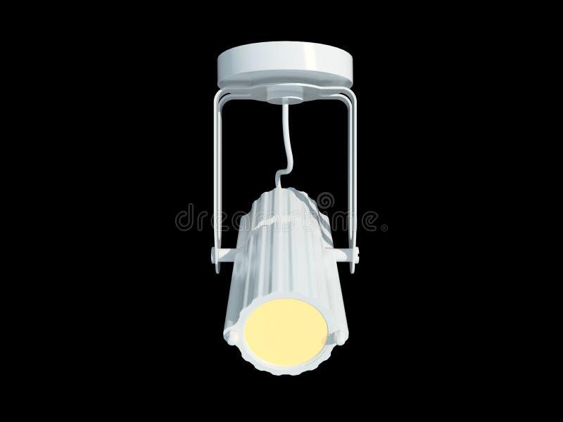 3d rendering białej lampy breloczek odizolowywający na czarnym backgro ilustracja wektor