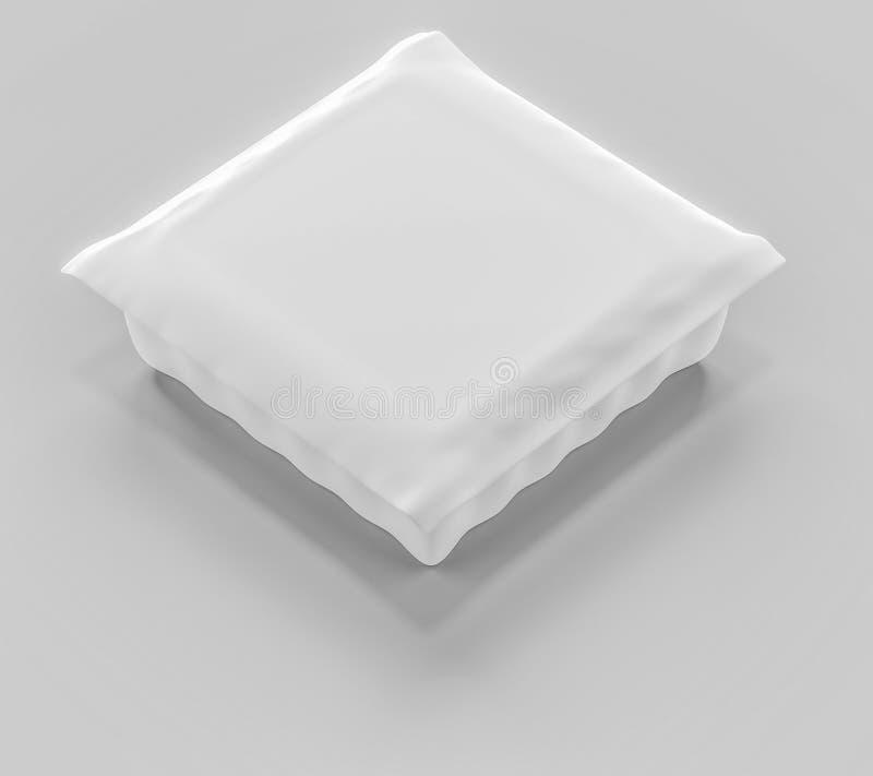 3D rendering, Biały curd pakuje, Detalicznego pakunku mockup set zdjęcia royalty free