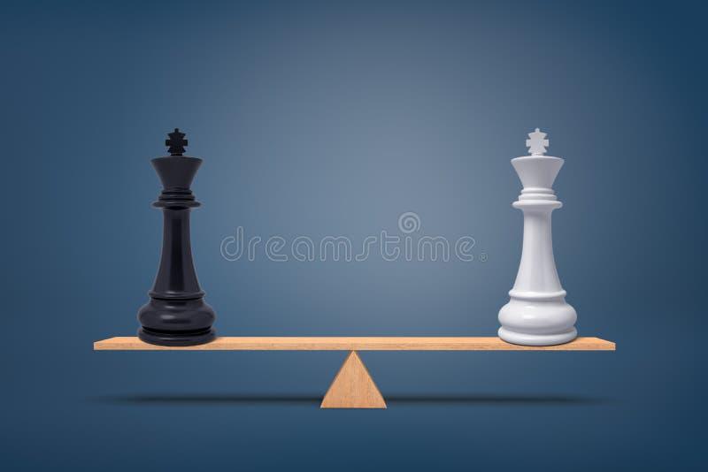3d rendering biały i czerń szachowy królewiątek stojak balansował na desce drewniany seesaw ilustracja wektor
