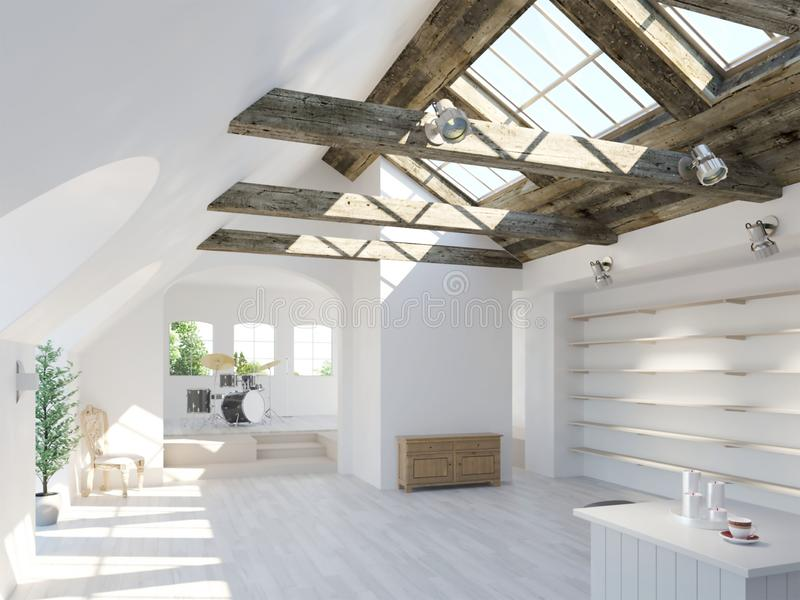 3d rendering biały loft wnętrze z bębenu setem ilustracja wektor