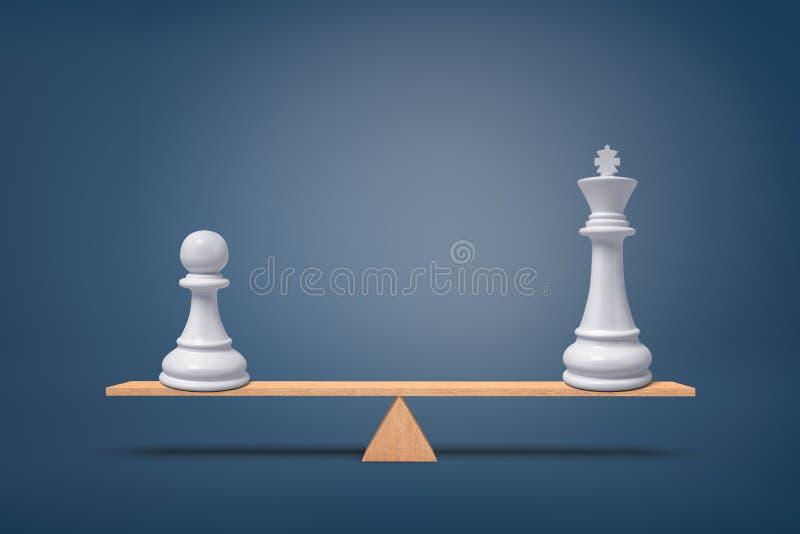 3d rendering biały pionek i biały królewiątko stojak na drewnianym seesaw całkowicie balansującym royalty ilustracja