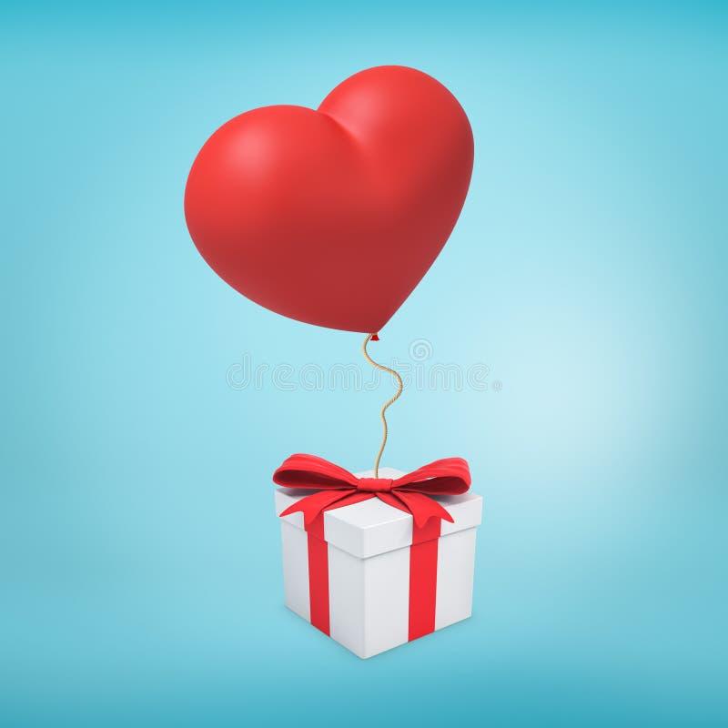 3d rendering biały prezenta pudełko wiążący z czerwonym faborkiem i z czerwonym sercowatym balonem dołączał ono na wick royalty ilustracja