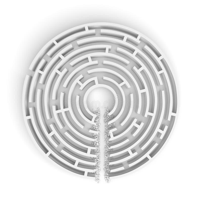 3d rendering biały round labirynt z bezpośredniej trasy cięcia dobrem centrum royalty ilustracja