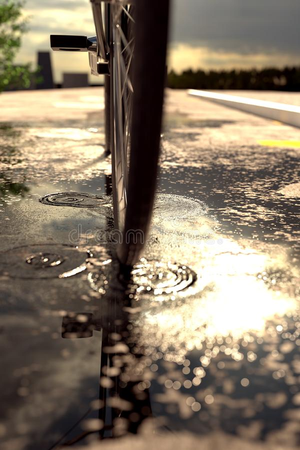 3d rendering of bicycle tire standing on puddle in front of blur stock photos