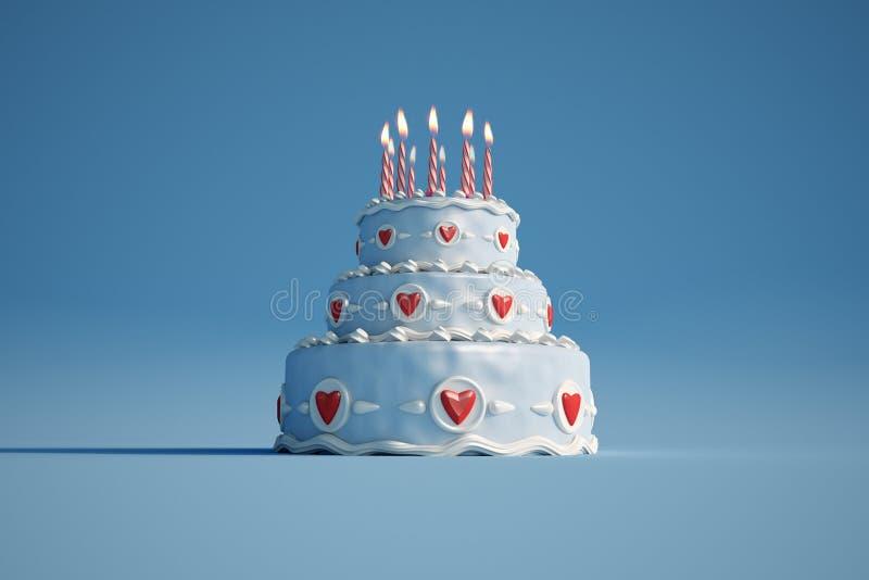 Birthday cake blue royalty free illustration