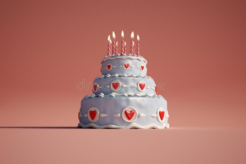 Birthday cake red royalty free illustration