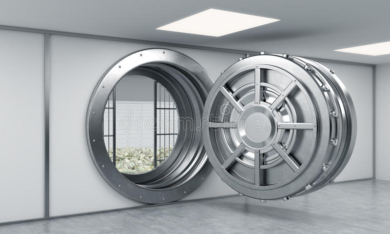 3D rendering of a big open round metal safe in a bank depository royalty free illustration