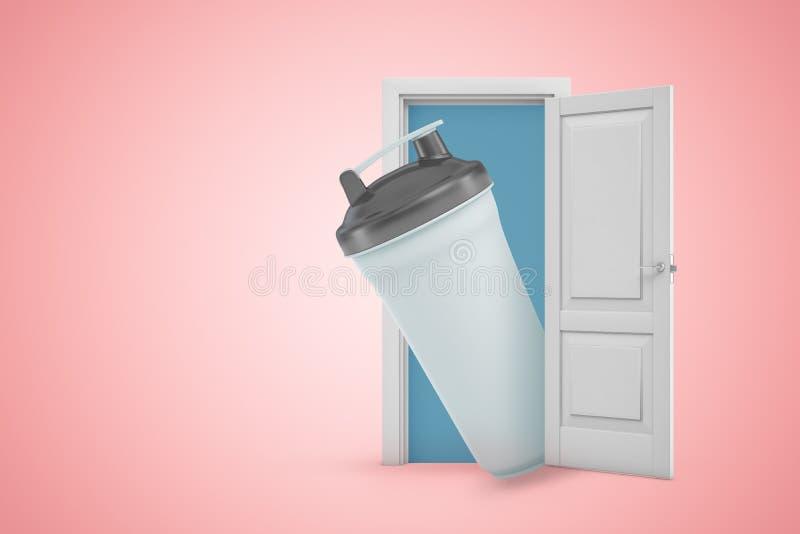 3d rendering of big plastic sport drink bottle emerging from open door on pink gradient copyspace background. royalty free illustration
