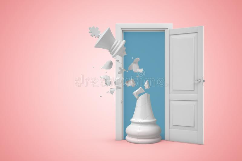 3d rendering of big white chess king with its top broken and pieces flying in air, standing in white doorway on pink royalty free illustration