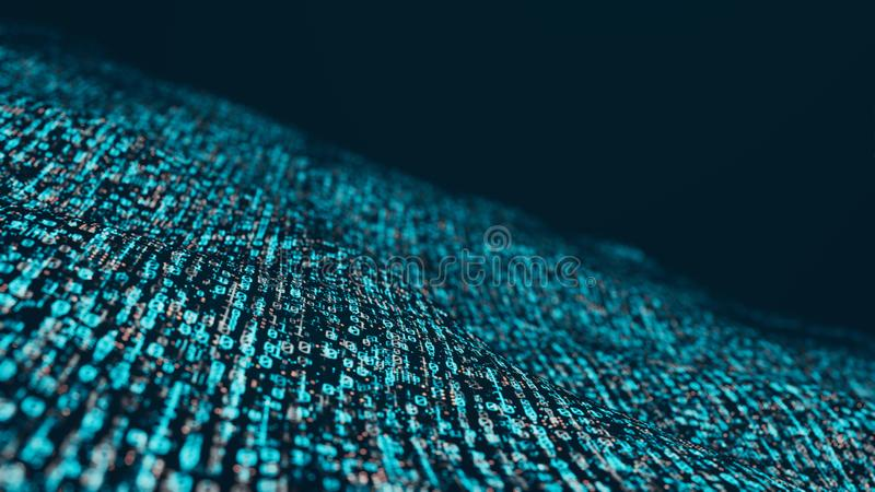 3D Rendering of binary data in wave form with soft blur. Concept for big data visualization, artificial intelligence vector illustration