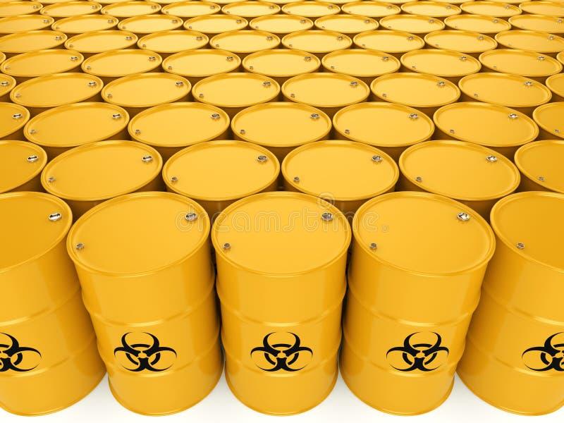 3D rendering biohazard barrels. 3D rendering yellow barrels with biologically hazardous materials stock illustration