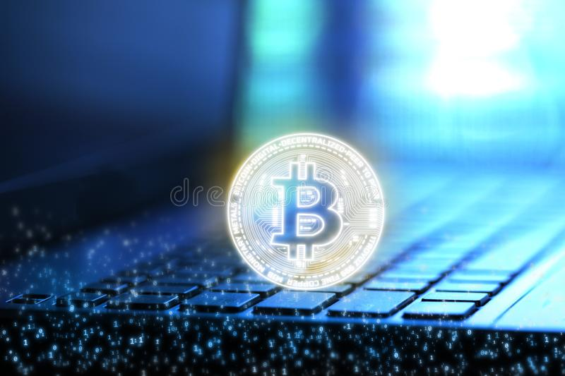 3D Rendering of Bitcoin BTC and binary digital number overlay on blur notebook and keyboard background. royalty free illustration