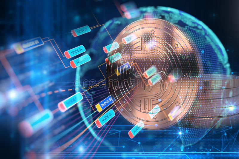 3d rendering of Bitcoin on technology background stock illustration