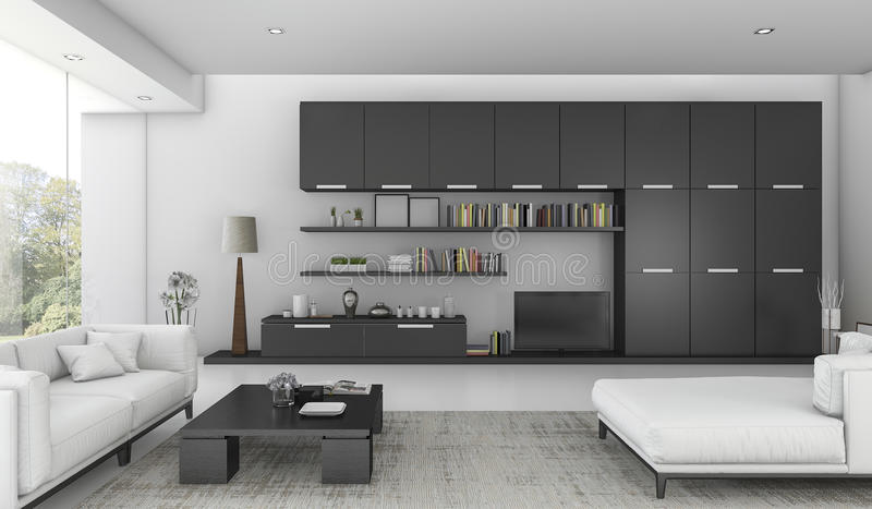 Download 3d Rendering Black Built In Shelf And Sofa Bed In Living Room Stock Illustration - Image: 83708368